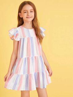 Girls Keyhole Back Striped Babydoll Dress – gagokid Baby Girl Dress Patterns, Kids Outfits Girls, Girls Fashion Clothes, Dress Sewing Patterns, Baby Girl Fashion, Little Girl Dresses, Baby Dress, Girl Outfits, Girls Dresses