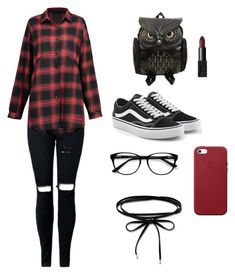 """ready to school !"" by rofaa187 ❤ liked on Polyvore featuring Vans, Apple, EyeBuyDirect.com, Thomas Sabo, school, black, red and women"