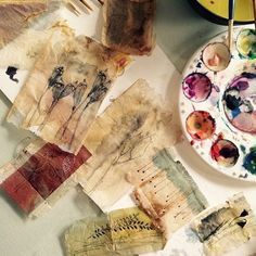 Two years ago, I discovered how much fun it is painting on all kinds of used tea bags. I haven't stopped.