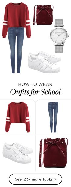 """""""School outfit"""" by emmavanleeuwen on Polyvore featuring 7 For All Mankind, adidas Originals and Mansur Gavriel"""