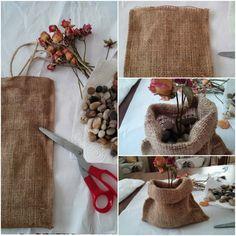 Şarap kılıfından vazo yapımı - Turn your wine bag into a rustic dry flower vase.