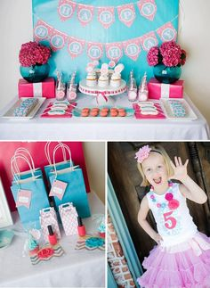 Adorable 5 year old themed birthday party! Love the eye mask cookies + printed gable boxes.