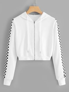 Shop Drawstring Detail Zip Hooded Sweatshirt at ROMWE, discover more fashion styles online. Girls Fashion Clothes, Teen Fashion Outfits, Mode Outfits, Girl Outfits, Crop Top Outfits, Cute Casual Outfits, Stylish Outfits, Stylish Hoodies, Mode Kpop