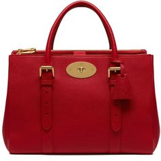 Mulberry Bayswater Double Zip Tote (2,175,975 KRW) ❤ liked on Polyvore featuring bags, handbags, tote bags, scarlet, red tote purse, strap purse, mulberry tote, double zip handbag and tote purses