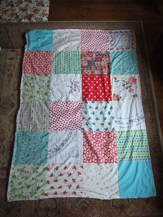 Vintage hankie patchwork quilt - a neat thing to do with all of the vintage handkerchiefs that I have!