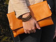 Clutch Handbag Purse Fold Over Vegan Faux by AtlanticCrossing