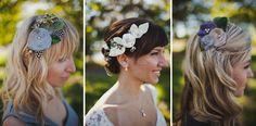grey wedding details, grey wedding inspiration, hand made hair accessories, wedding day hair accessories