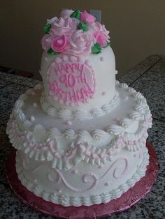 stacked 90th birthday cake by Royalty_Cakes, via Flickr