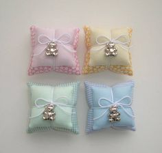 This Pin was discovered by lou Lavender Bags, Lavender Sachets, Handmade Crafts, Diy And Crafts, Lace Ring, Fabric Hearts, Baby Girl Shower Themes, Baby Shawer, Ring Pillow Wedding