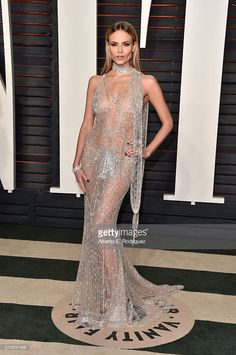 Model Natasha Poly attends the 2016 Vanity Fair Oscar Party hosted By Graydon Carter at Wallis Annenberg Center for the Performing Arts on February 28, 2016 in Beverly Hills, California.