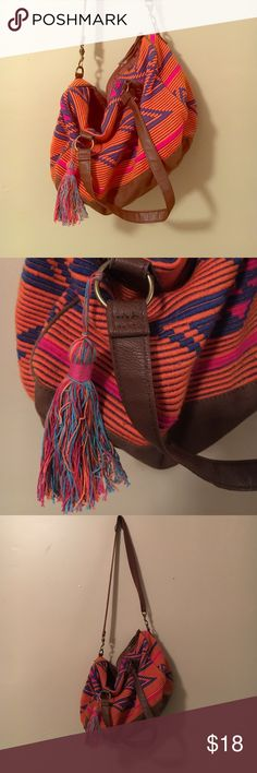 Colorful Aztec Purse Large shoulder bag. Orange, blue, and pink details. Faux leather and cute tassel Mossimo Supply Co Bags Hobos