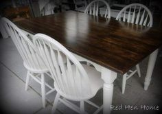 use stripper on these types of farm tables to remove the thick layer of poly or varnish before staining.