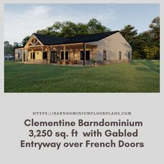 $595. 5 Bed – Clementine 3 Bath – 3,250 sq. ft.– with Gabled Entryway over French Doors. We sell semi-custom Barndominium floor plans and provide helpful tips to design and build your home whether it is DIY or you are paying a company. #architecture #barndominiums #home #modernbarn #barnhomefloorplans #beautifulbarn #homefloorplan #barnhomedesign #housedesign #barndominiumfloorplans #floorplan #dreambarn #barnhouse #barndominiumliving #barndominiumdesign #office #garage Metal Barn Homes, Metal Building Homes, Pole Barn Homes, Building A House, Pole Barn House Plans, House Floor Plans, Barn House Design, Barndominium Floor Plans, Dream Barn