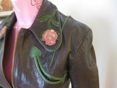 East West Musical Instruments Vintage 70s Leather 'Rodeo' western ROSES Jacket