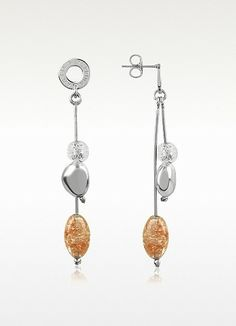 L'Italia Antica Murrina Pandora - Murano Glass and Sterling Silver Brown Bead Earrings True Italian, True Style   Made in Italy