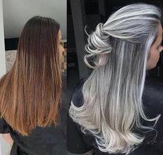 Ideas Hair Color Flamboyage Ash Blonde Long Bobs - Hairstyles For All Long Gray Hair, Silver Grey Hair, Brown Blonde Hair, Blonde Streaks, Brunette Hair, Grey Hair Inspiration, Gray Hair Highlights, Great Hair, Hair Looks