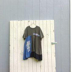 summer baseball - funky tunic / upcycled Dress / romantic Upcycled clothing / Patchwork Dress / Eco Dress / Artsy Dress by CreoleSha by CreoleSha on Etsy