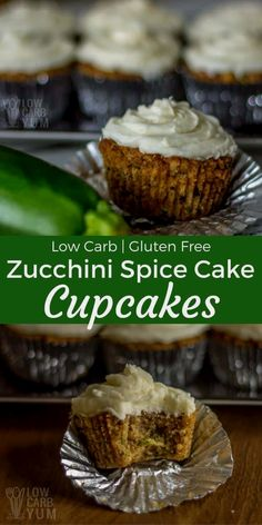 Moist and flavorful  Moist and flavorfullow carb zucchini spice cake cupcakesare gluten free with no sugar added. Each is topped with asugar free cream cheese frosting. |  LowCarbYum.com