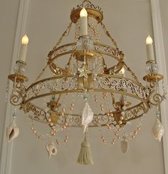 """VINTAGE Lighting CHANDELIER Home & Living ~Tiered Wedding Cake 24"""" x 28"""" SHELLS, Pearls, Swarovski Starfish, Beads,Home Decor, Light Fixture by SharonsChandeliers on Etsy https://www.etsy.com/listing/179227421/vintage-lighting-chandelier-home-living"""