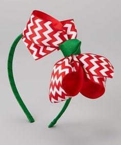 Green & Red Zigzag Bow Headband by Bourbon Street Boutique #zulily #zulilyfinds