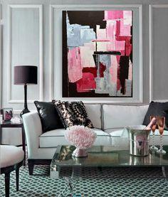 Peinture abstraite originale EXTRA LARGE, rose peinture noire et grise, art abstrait moderne by MossAndBlue on Etsy