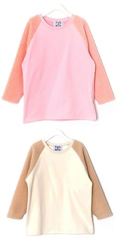 Sheep Sleeves Tee (2 Colors)  | Fall & Winter | Dolly & Molly | www.dollymolly.com | #pink #brown #ivory #cotton #cute #lovely #streetwear #top #korea #fashion