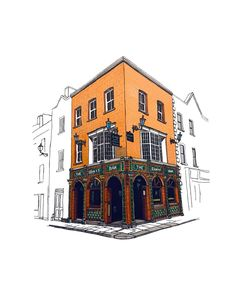 So I added some colour to the drawing of The Quays Bar. What do you think?