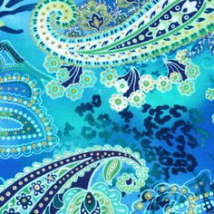 Click to enlarge image(s)  Ocean and Gold    Teal, navy and green  paisley with floral print  against animal inspired   blue ocean background    Quilt fabric  by Hoffman
