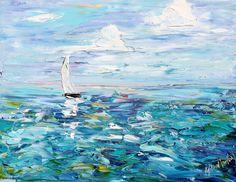 Original oil painting Summer Sailing ocean Boat palette knife by Karensfineart