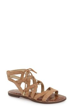 Sam Edelman 'Gemma' Lace-Up Sandal (Women) at Nordstrom.com. Soft leather straps enhance this gladiator-inspired sandal featuring a touch of gleaming goldtone hardware.