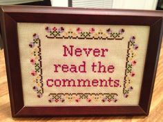 PATTERN Never Read the Comments Cross Stitch Funny door stephXstitch, $5,00