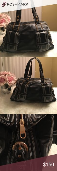 Badgley Mischka Authentic black leather bag Badgley Mischka Authentic black leather shoulder bag, purse with beautiful white stitching and gold hardware. Only used a handful of times. Excellent condition, like new. Smoke free home. Offers welcomed 🙂👍🏻 Badgley Mischka Bags Shoulder Bags