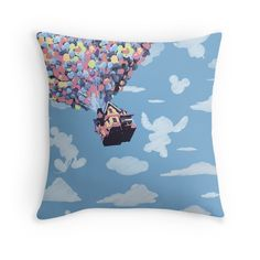 Disney Up house with mickey and lilo shapes in the clouds throw pillow Disney Throw Pillows, Disney Up House, Disney Bedrooms, Canned Ham, Upstairs Loft, Disney Home Decor, Disney Posters, Delta Zeta, Pillow Sale