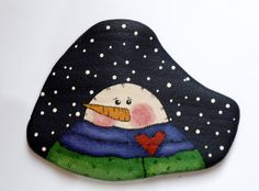 Snowman Painted Rock Paperweight Snowman by IndieGirlCreations