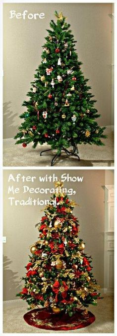 Christmas Tree before Show Me Decorating and after by following the Show Me Decorating Recipe! Go to http://www.showmedecorating.com to transform your tree