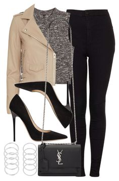 """Style #11082"" by vany-alvarado ❤ liked on Polyvore featuring Topshop, H&M, IRO, Jimmy Choo and Yves Saint Laurent"