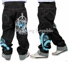 "TIME IS MONEY ""MONEY STAR"" MENS BOYS BAGGY LOOSE FIT STYLE G JEANS HIP HOP WEAR"