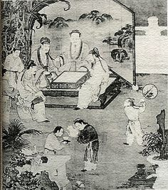 Ancient Chinese painting showing Go players..