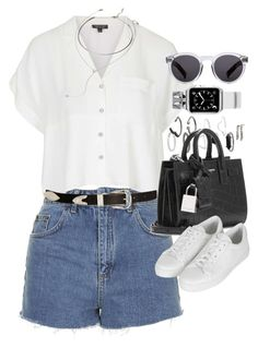 """""""Outfit with a Casetify Looney Tones Apple Watch Band"""" by ferned ❤ liked on Polyvore featuring Topshop, Yves Saint Laurent, ASOS, Forever 21, Casetify, Illesteva, women's clothing, women's fashion, women and female"""