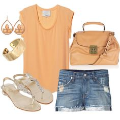 """peach & gold"" by doodleluv on Polyvore"
