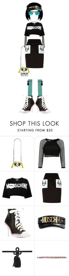 """""""Sugar & Spice & Everything Nice"""" by kathyaalrust ❤ liked on Polyvore featuring Moschino, Ray-Ban and logomania"""