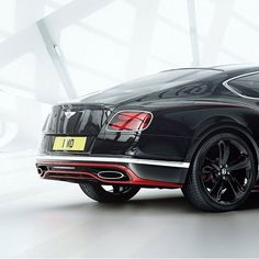 The #Bentley Continental GT Speed Black Speed Edition features a Black Crystal paint finish, and St James Red accents.  A hand painted fine line runs along the length of the car.  #continentalgtspeed