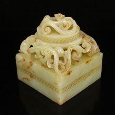 Chinese Han Dynasty Hetian Jade Chi Dragons Seals