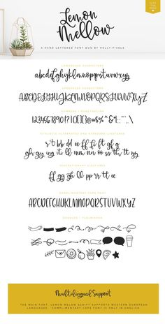 This beautiful and fun bouncy font, Lemon Mellow is hand lettered with happiness. - This beautiful and fun bouncy font, Lemon Mellow is hand lettered with happiness. Hand Lettering Alphabet, Calligraphy Alphabet, Calligraphy Fonts, Typography Fonts, Brush Lettering, Graffiti Alphabet, Doodle Fonts, Bullet Journal Banner, Cricut Fonts