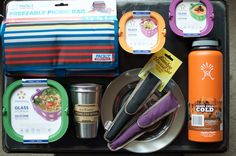 There is a variety of sustainable picnic gear and food storage.