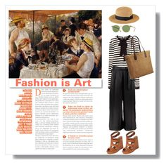 """""""Fashion is Art: Renoir"""" by keepfashion92 ❤ liked on Polyvore featuring Lucky Brand, Oliver Peoples, San Diego Hat Co., White Label, Boohoo and Old Navy"""