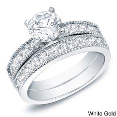 <li>Certified white diamond bridal ring set</li><li>14-karat white or yellow gold jewelry</li><li><a href='http://www.overstock.com/downloads/pdf/2010_RingSizing.pdf'><span class='links'>Click here for ring sizing guide</span></a></li>