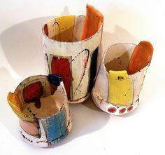 Three pots by linda marie art