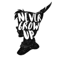 PETER PAN | NEVER GROW UP | FIRST STAR ON THE RIGHT | TINKER BELL | CAPTAIN HOOK | CROCODILE | CLOCK TOWER | QUOTE | TYPOGRAPHY
