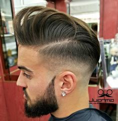 fade with long top and beard